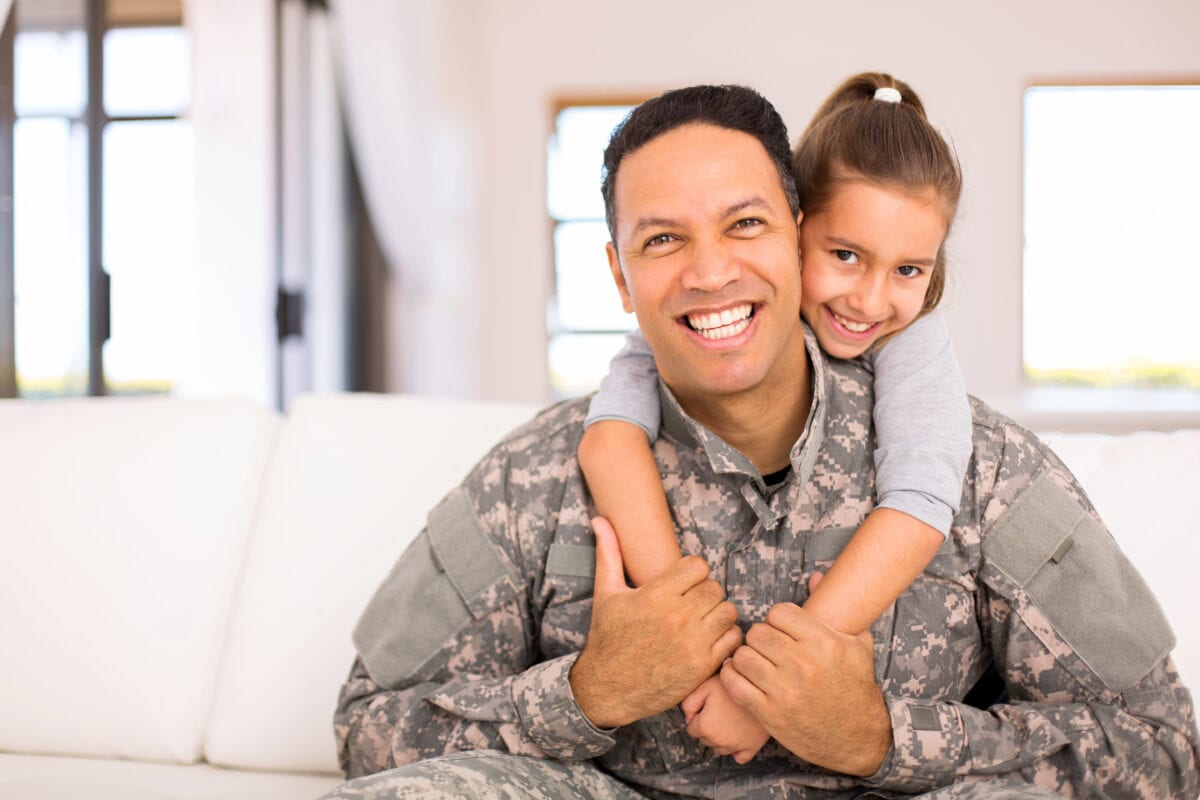 Military Father and daughter at home