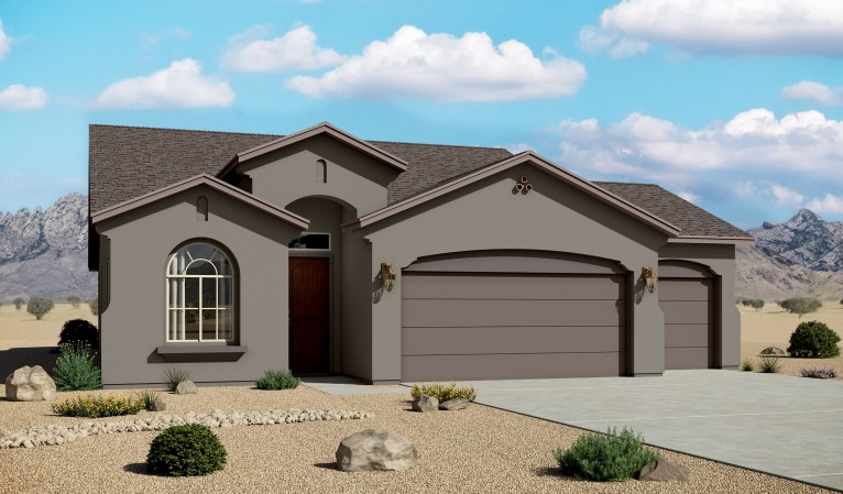 Mountain Hawk 1649 3 Car Garage Mediterranean Elevation
